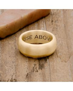 Collide with the Sky ring handcrafted in 14k yellow gold with a smooth finish and personalized with a meaningful name, word or date