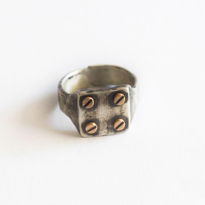 Bonded Rivet Ring [Sterling Silver] - 4 Rivets