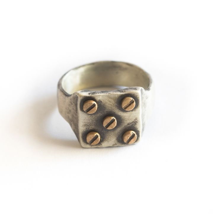 Bonded Rivet Ring [Sterling Silver] - 5 Rivets