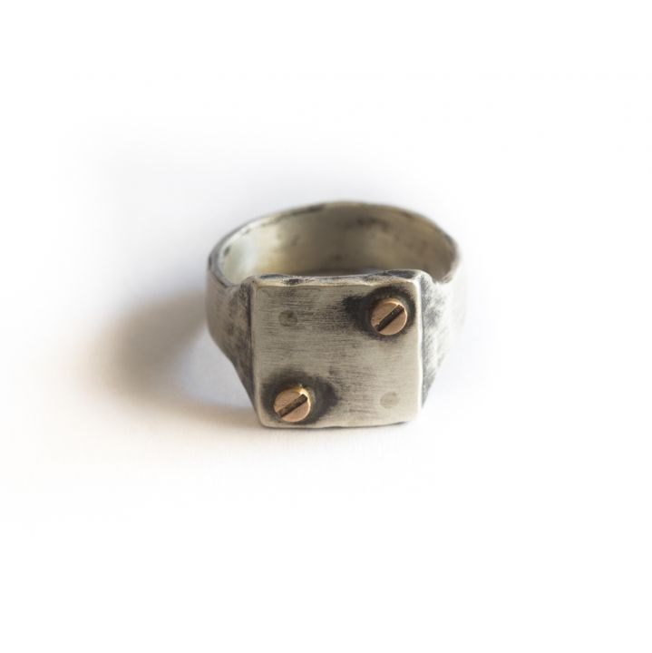 Bonded Rivet Ring [Sterling Silver] - 2 Rivets