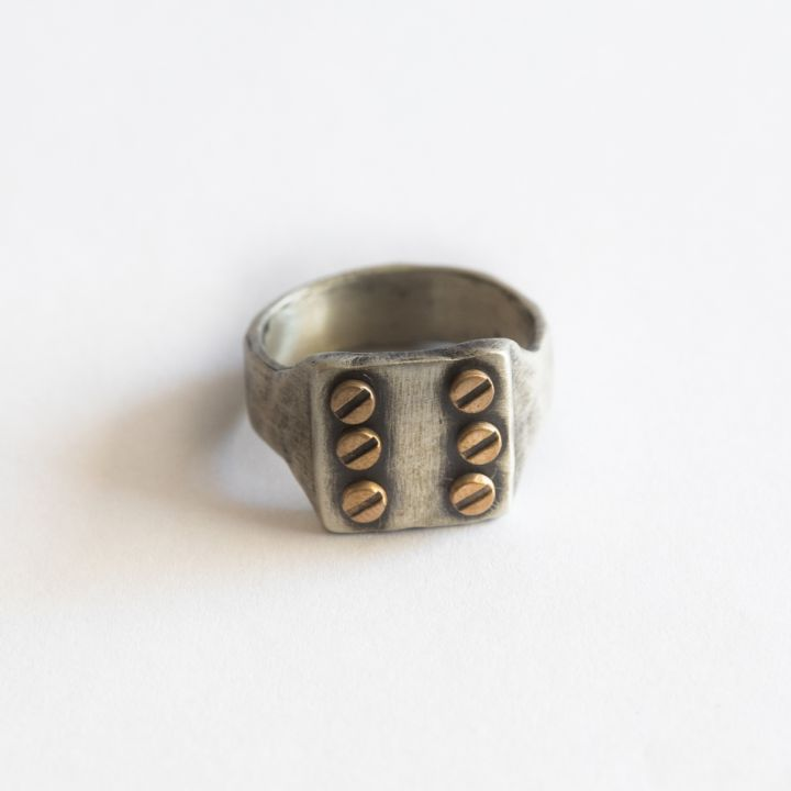 Bonded Rivet Ring [Sterling Silver] - 6 Rivets