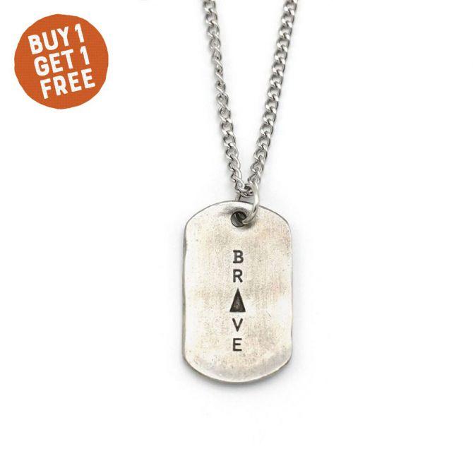 Live Brave Dog Tag Necklace [Pewter]