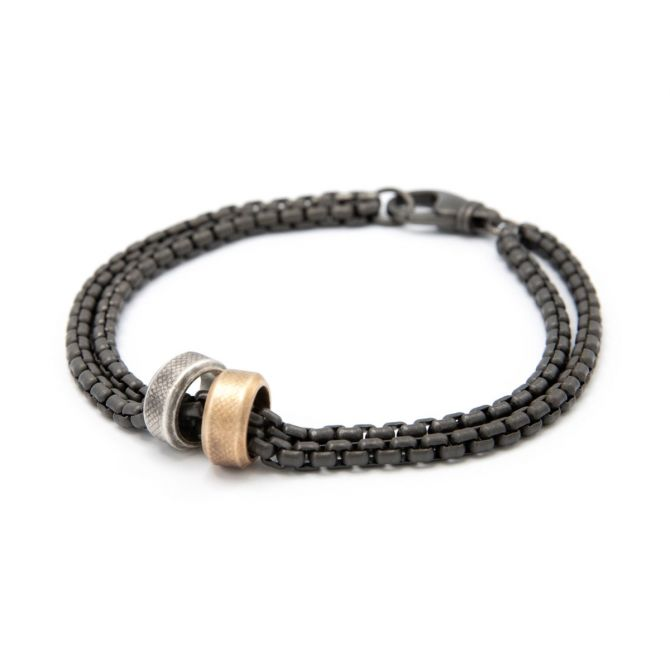 Limitless Bracelet [Black Sterling Round Box Chain]