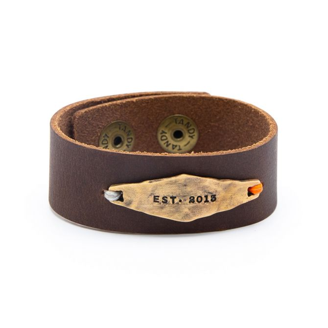 Brown Identity Leather Cuff [Bronze]