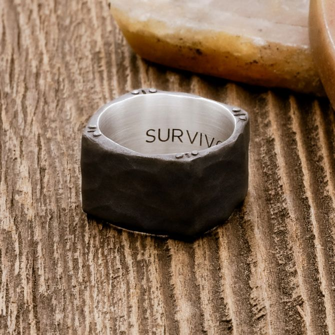 Strong + True Wide Ring [Black Sterling]