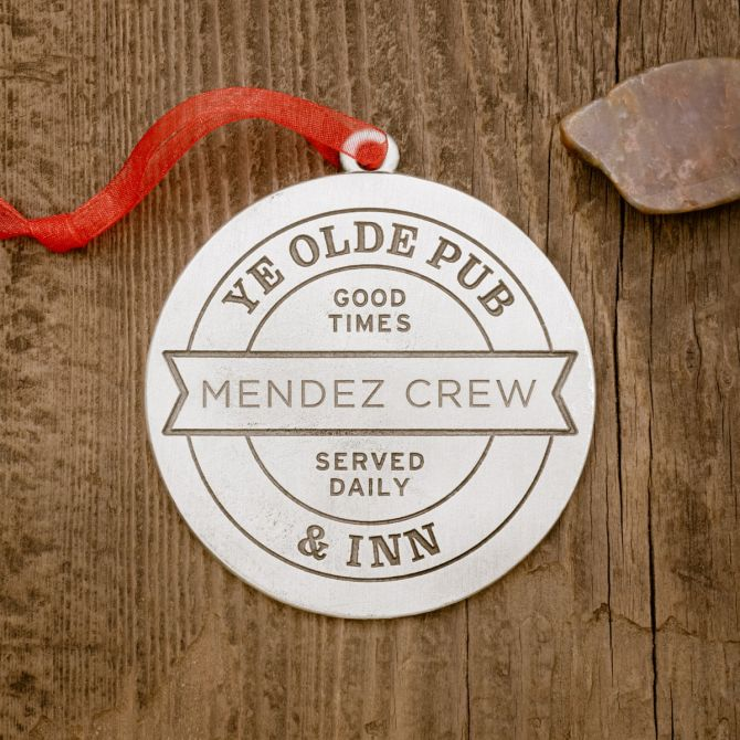 Relax and Enjoy Pub Coaster Ornament [Pewter]