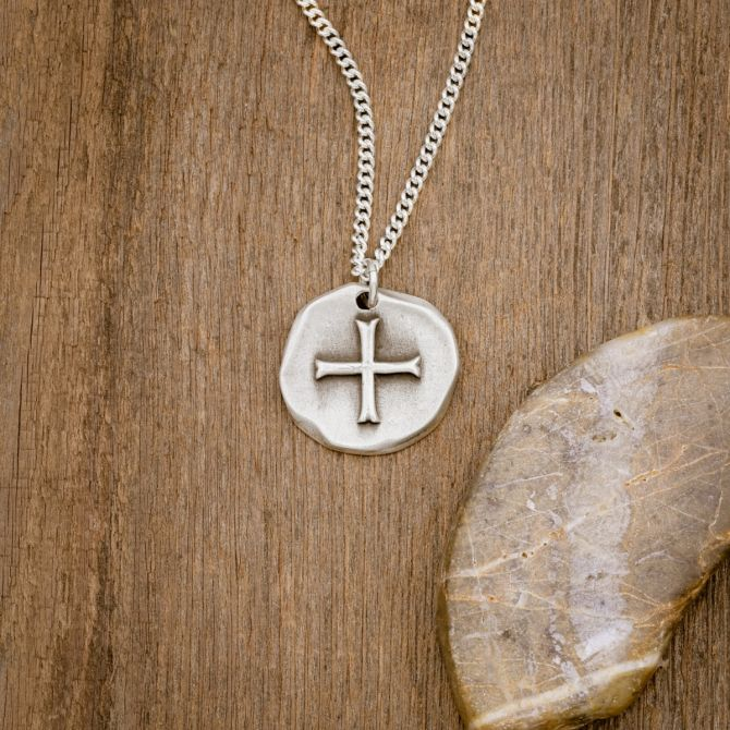 Roman Cross Coin Necklace (Sterling Silver)