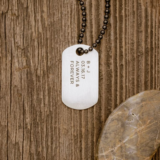 Lasting Bond Dog Tag Necklace Large [Sterling Silver]