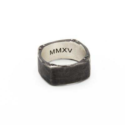 STRONG + TRUE SQUARE RING (BLACK STERLING)