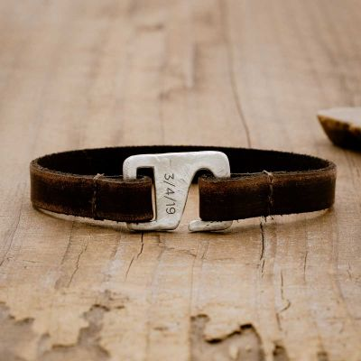 Brown Connection bracelet handcrafted with a distressed leather strap and sterling silver closure customizable with a name, word or date