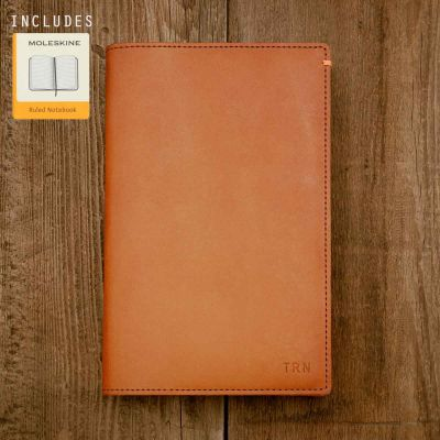 Discover Leather Journal handcrafted in solid water buffalo tan leather including notebook and hardcover and customizable with up to 3 letter monogram