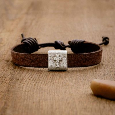 Equitable Leather Cross bracelet handcrafted in brown latigo leather with a pewter bead