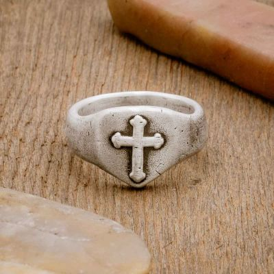 Faith Hope and Love Cross Signet ring handcrafted in sterling silver with an antiqued finish