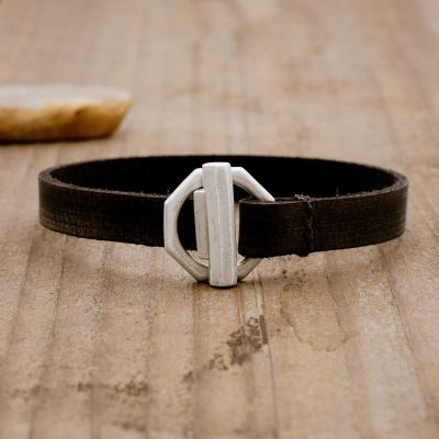 Life Forever bracelet handcrafted in black latigo leather and a sterling silver toggle closure