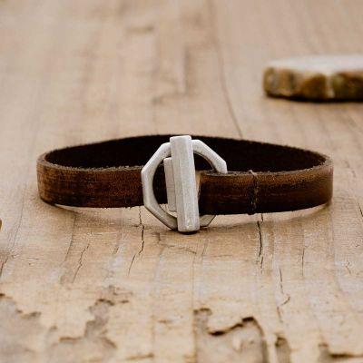 Life Forever bracelet handcrafted in water buffalo brown leather and a sterling silver toggle closure