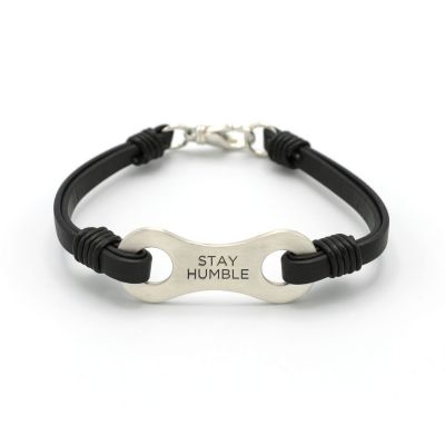 LINKED TOGETHER MENS LEATHER BRACELET (STERLING SILVER)