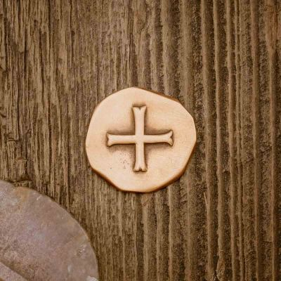 Roman Cross Pocket coin handcrafted in bronze and customizable on the back with up to 4 lines