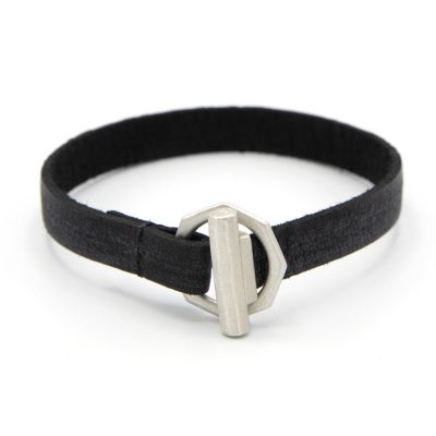 LIFE FOREVER BLACK LEATHER BRACELET