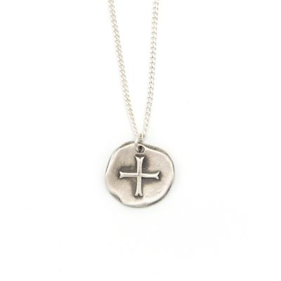 Roman Coin Cross Necklace [Sterling Silver]