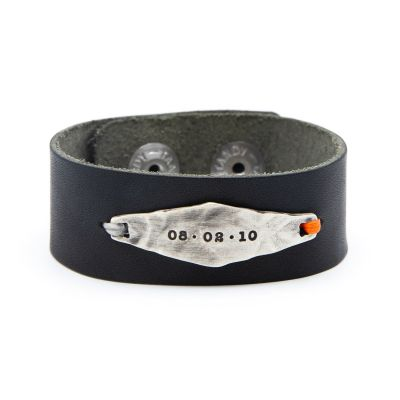 Black Identity Leather Cuff [Sterling Silver]