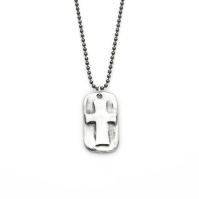 Prevail Cross Dog Tag Necklace [Sterling Silver]