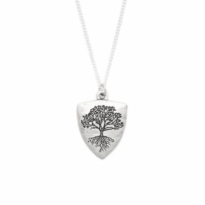 Family Tree Shield Necklace [Sterling Silver]