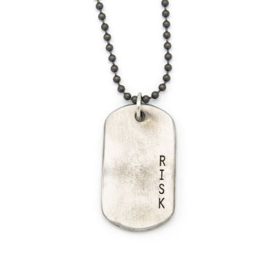 Take Risk Dog Tag Necklace [Pewter]