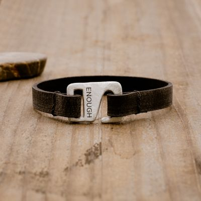 Black Connection bracelet handcrafted with a distressed black leather strap and a sterling silver closure customizable with a name, word or date engraved