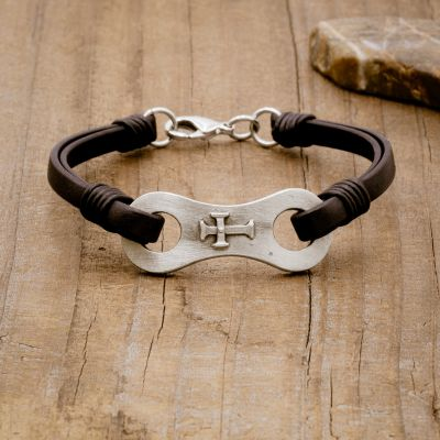 Linked Together Cross Bracelet [Black]