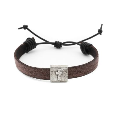 EQUITABLE LEATHER CROSS BRACELET (BROWN)