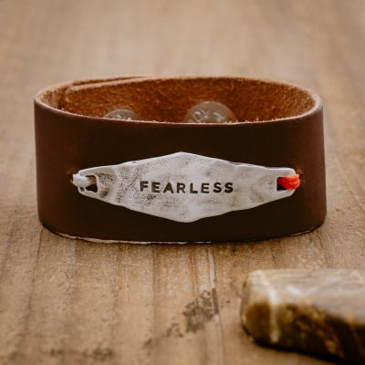 Brown Identity Leather Cuff [Sterling Silver]