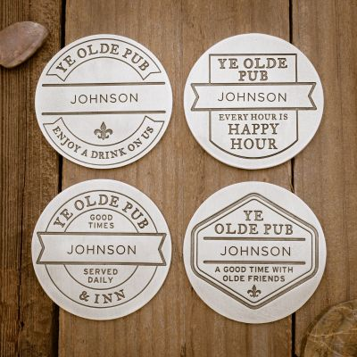 Relax + Enjoy Pub Coasters [Pewter]
