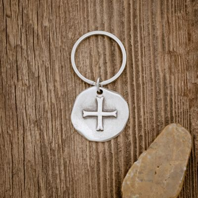 (STERLING SILVER) ROMAN CROSS COIN KEY RING