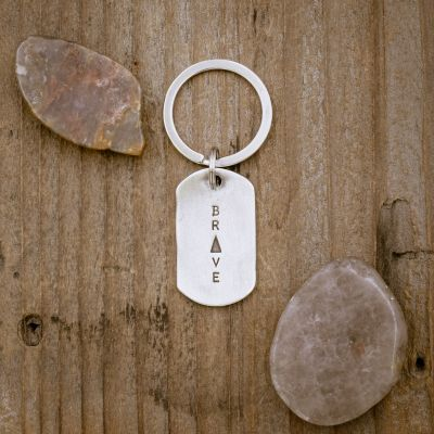 Live Brave Dog Tag Key Ring [Pewter]