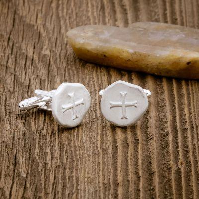 Roman Cross Cufflinks [Sterling Silver]