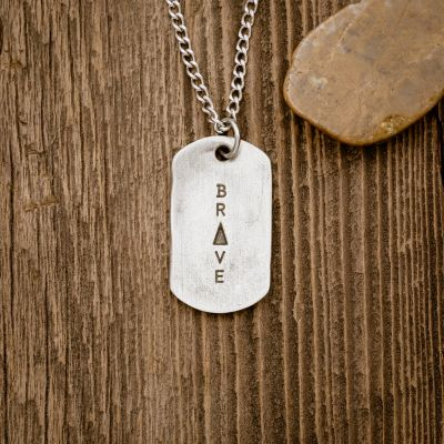 Live Brave Dog Tag Necklace [Pewter]