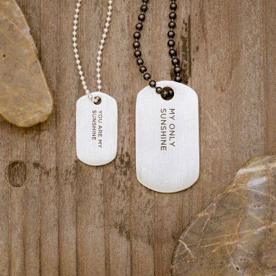 Lasting Bond Dog Tag Necklace Set [Sterling Silver]