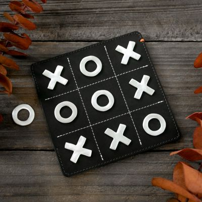 Noughts and Crosses Leather Tic-Tac-Toe Game Set