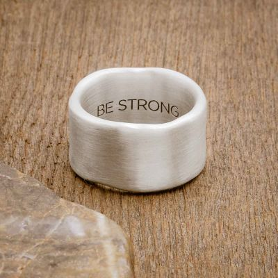 Valor Wide ring handcrafted in sterling silver customizable with a meaningful name, word or date