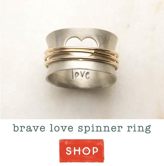Brave Love spinner ring