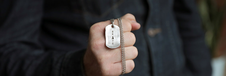 Live brave dog tag necklace